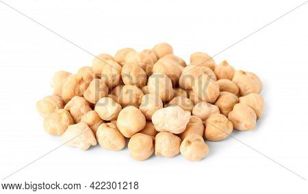 Pile Of Raw Chickpeas On White Background. Vegetable Planting