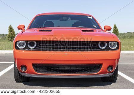 Tipton - Circa May 2021: Dodge Challenger Display At A Chrysler Dealership. The Stellantis Subsidiar