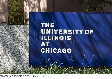 Chicago - Circa May 2021: University Of Illinois At Chicago Entrance. Uic Is Adjacent To Downtown An