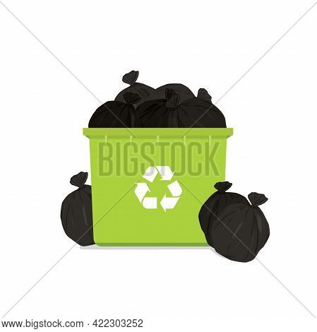 Overflowing Green Garbage Bin With Household Waste Isolated On White Background.