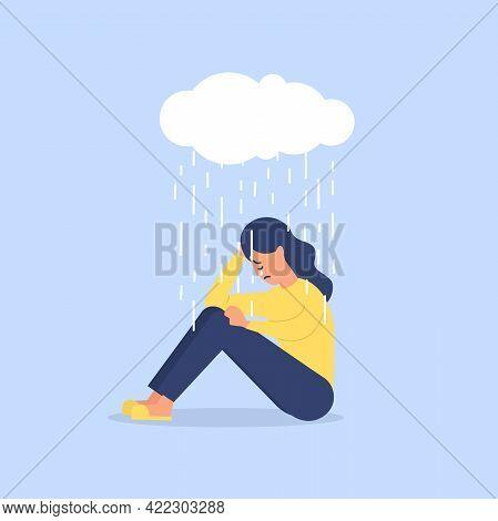 Young Woman Sitting Under Rain, Depression Concept. Depressed, Unhappy Girl, Woman Sitting Under Rai