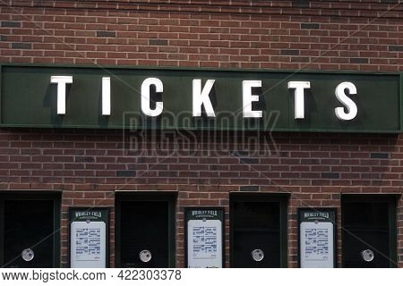 Chicago - Circa May 2021: Wrigley Field Home Of The Chicago Cubs Ticket Office With Cubs Schedule Po