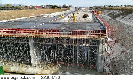 Highway Construction Site View. Civil Engineering