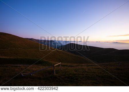 Dawn At Mount Grappa. Italian Alps Landscape, Italy. Italian Alps Panorama