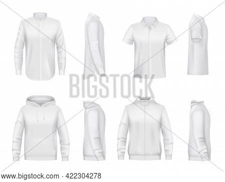 Man Clothing, White Shirt With Long And Short Sleeves, Hoodie Realistic Vector Mockup. Hooded Sweats