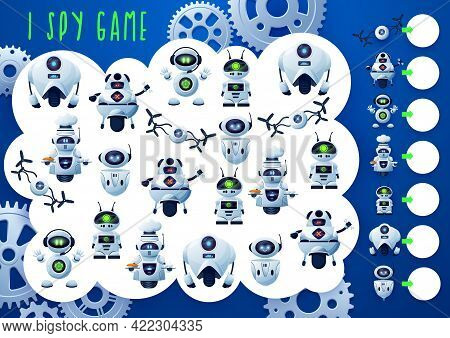 I Spy Kids Game With Robots, Droids And Drones, Vector Cartoon Board Game. Kids Tabletop Guess Game