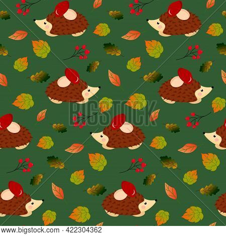 Hedgehog With Mushroom In The Autumn Forest. Leaves And Berries. Vector Illustration On A Green Back