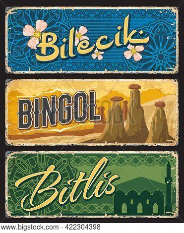 Bilecik, Bingol And Bitlis Il, Turkey Provinces Vintage Plates. Famous Turkish Landmarks Plaques Or