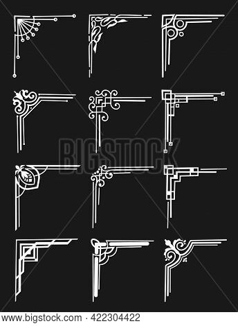 Art Deco Ornamental Corners, Floral Divider And Vector Borders Elements. Frame Decorations With Line