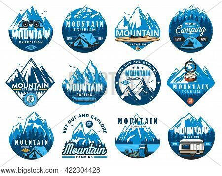Mountain Climbing Icons, Rafting Expedition And Camping Vector Symbols. Tourist Tent, Kayak Or Canoe