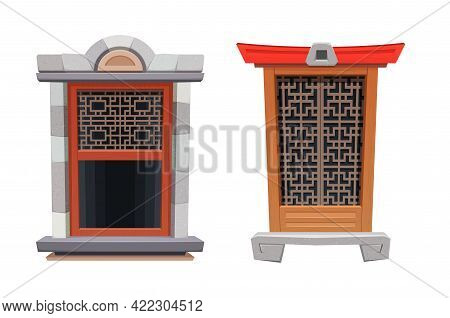 Window Of Chinese Temple Or Fortress Interior, China Building And Ancient Architecture, Vector. Chin