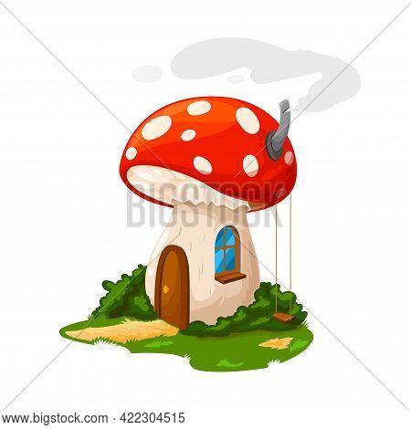 Fairy Mushroom House Or Gnome Dwelling And Dwarf Home, Vector Cartoon. Dwarf Gnome Or Elf Fairy Tale