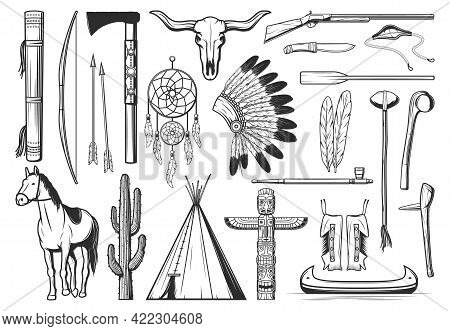 American Indians Culture Symbols. Thin Line Bow, Arrows And Quiver, Tomahawk Or Hatchet, Dreamcatche