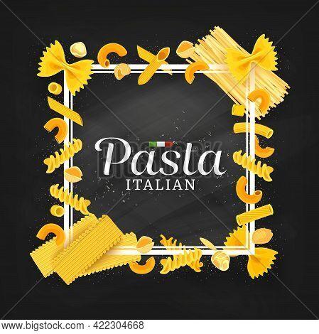 Pasta, Italian Cuisine Restaurant Menu Cover Or Frame. Cartoon Vector Farfalle, Maccheroni And Conch