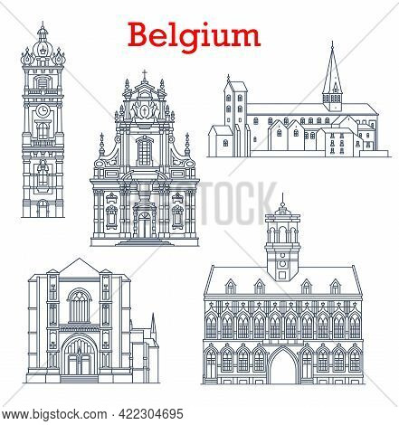 Belgium Landmarks Architecture And Buildings Of Mons, Binche And Bruges City, Vector Icons. Belgian