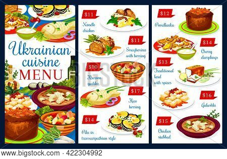 Ukrainian Cuisine Vector Menu, Chicken Noodle, Smazhenina With Herring, Kherson Yushka, Kiev Herring