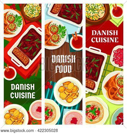 Danish Cuisine Food Banners, Scandinavian Dishes And Denmark Meals, Vector. Danish Cuisine National
