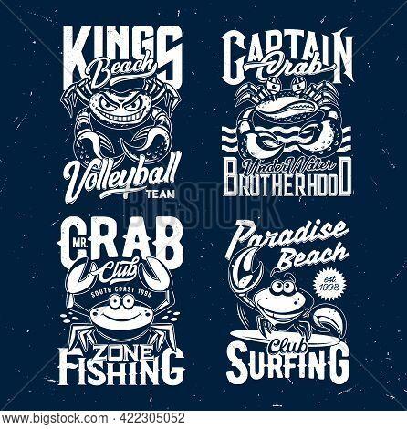 Crab T-shirt Print Vector Mockups With Cartoon Crabs, Funny Sea Food Crustacean Animals, Ocean Waves