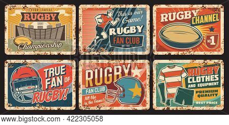 Rugby Sport Vector Rusty Metal Plates, Player Run With Ball, Helmet, Uniform, Play Field. American F