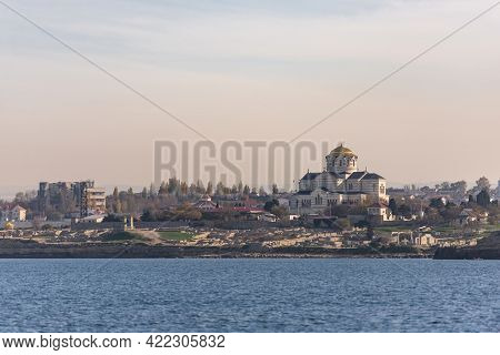 St. Vladimir Cathedral From The Sea. The Cathedral In Chersonesos Is One Of The Largest In Area Amon