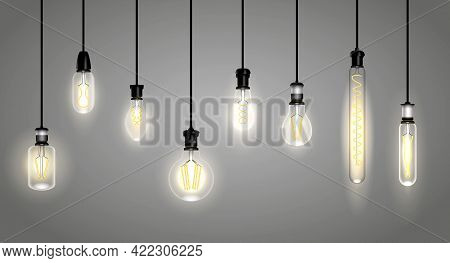 Set Of Realistic Incandescent Lamps Or Hang Bulb Wire Light Or Soft Glowing Filament Vintage Lamp Or