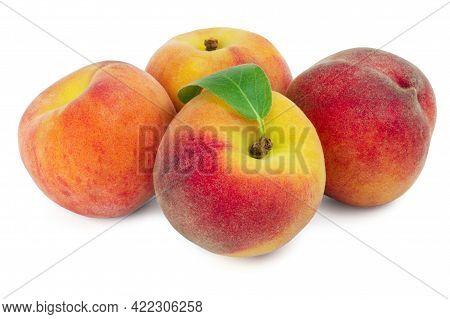 Ripe Sweet Peaches Isolated On White Background. Fresh Fruits.