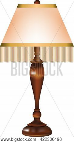 Table Lamp With A Retro Fabric Shade And Threads Around The Edge Of The Shade And A Wooden Stand.