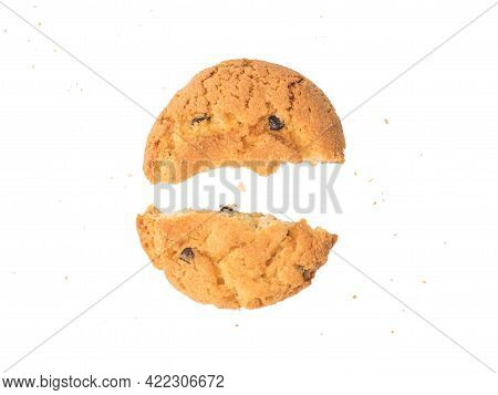 Broken Cookies With Crumbs Isolated On A White Background. Delicious Baked Dessert.