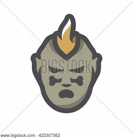 Tribal Warrior Cannibal Vector Icon Cartoon Illustration.