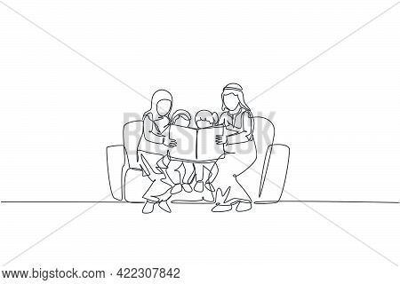 Single Continuous Line Drawing Of Young Arabian Family Sitting On Sofa Together Reading A Book. Isla