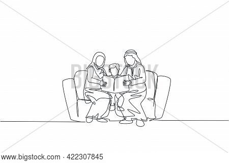 Continuous One Line Drawing Of Young Arabian Parent Sitting On Sofa With Their Boy, Reading A Book.