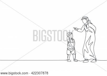 One Continuous Line Drawing Of Young Islamic Father Talk And Give Wise Advise To His Son Not To Lie.