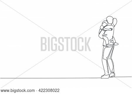 Single Continuous Line Drawing Young Mom Carrying Her Sleepy Tired Son Go To The Bed Room At Home, H