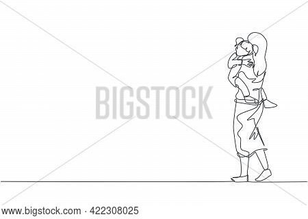 One Continuous Line Drawing Of Young Mother Carrying Her Sleepy Tired Daughter Go To The Bed Room. H