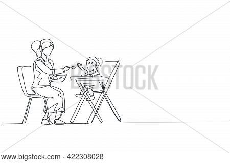 Single Continuous Line Drawing Young Mom Feeding Her Daughter A Meal Who Sit At Baby Dining Chair, H
