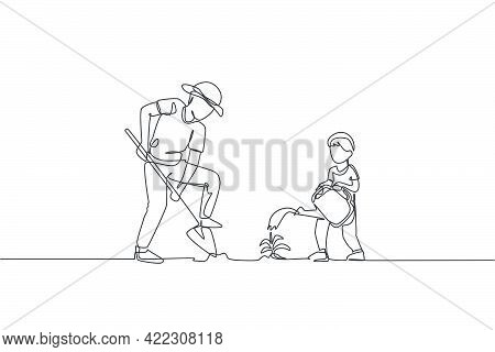 Single Continuous Line Drawing Young Dad Digging Ground Using Shovel And Son Watering A Plant At Hom