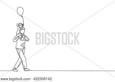 One Continuous Line Drawing Of Little Girl Who Hold A Balloon Siting On Father's Shoulder At Night C