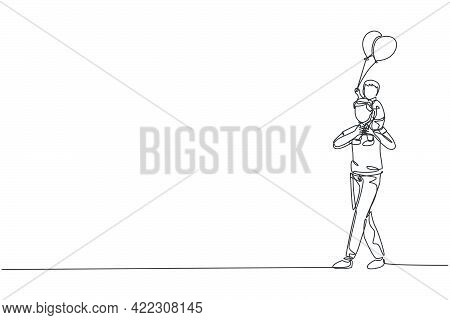 One Single Line Drawing Of Little Boy Who Hold A Balloon Siting On Father's Shoulder At Night Carniv
