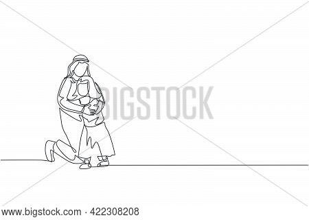 One Single Line Drawing Of Young Happy Arabian Father Hugging Her Daughter Girl Full Of Love And War