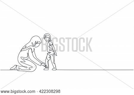 Single Continuous Line Drawing Of Young Arabian Mom Help Her Son To Tie Shoelace Before Go To School