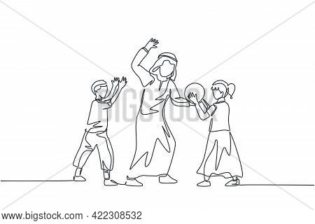 One Continuous Line Drawing Of Young Islamic Dad Playing Ball With Son And Daughter At Outdoor Field