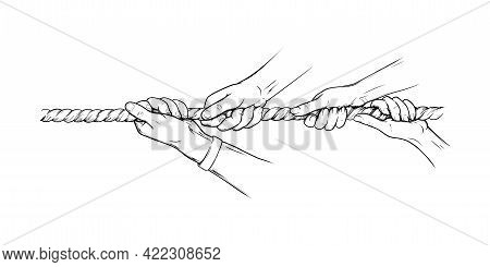 Tug War Competition With Rope. Hands Pulling Rope Together, Teamwork Concept. Sketch Hand Drawn Vect