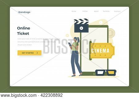 Cinema Movie Ticket Online Illustration Landing Page Concept