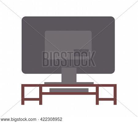 Tv On Stand. Wooden Shelf For Television Vector Illustration. Living Room Interior Design Element Bi
