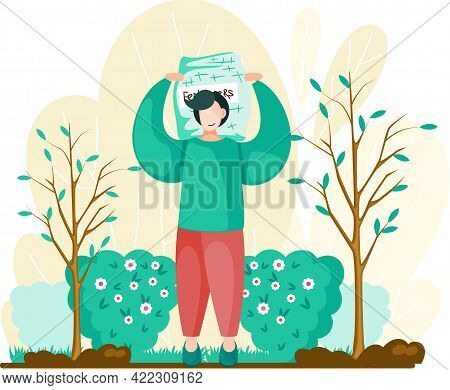 Male Agricultural Worker Gardener Character In Growing Plants Cartoon Style Vector Illustration. You