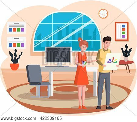 Couple Choosing Color From Paint Swatches And Samples. Female Designer Pick Paint For Decoration, De