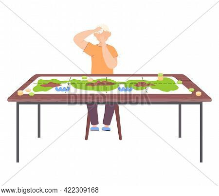 Boy Sitting On Chair Next To Table With Colored Board Game And Coins. Male Character Has Interesting