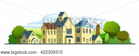Village. Street With Houses. Cartoon Cheerful Flat Style. Village. Small Cozy Suburban Cottages With
