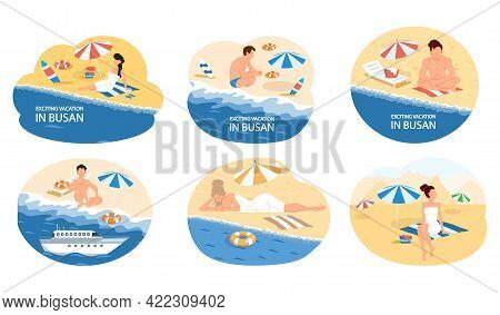 Exciting Vacation In Busan Tourist Travel Promotion Poster With Beach And Ocean. Summer Tourism In C