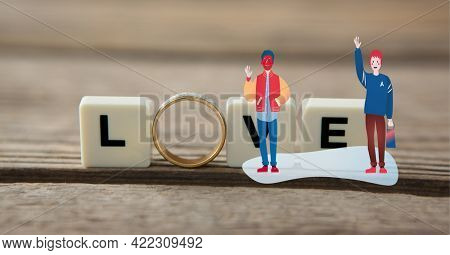 Composition of wedding ring and love text on squares with illustration of people. marriage, love and romance concept digitally generated image.